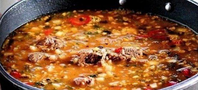 суп харчо в казане на костре