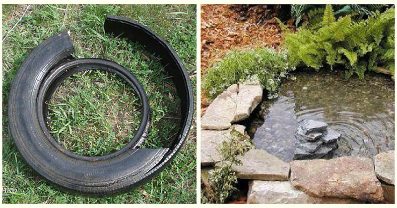 Старая шина превращается… Превращается шина… В элегантный пруд!