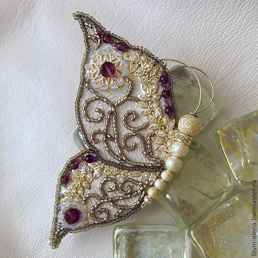 """Brooches handmade. Brooch """"Twilight frost"""". Butterfly bead. master Alena Litvin. My Livemaster.Brooch beads, brooch"""