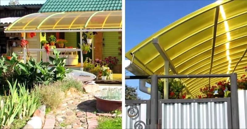 Отличная терраса к дому из простого поликарбоната