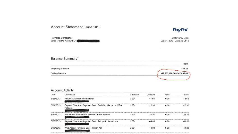 PayPal случайно зачислил пользователю 92 квадриллиона долларов сделав его самым богатым человеком на Земле