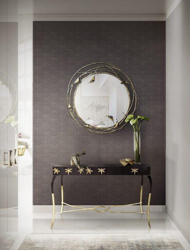 Утонченный тандем столика и зеркала для небольшой прихожей