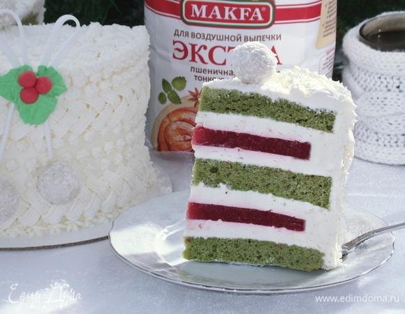 Фисташково-клубничный торт