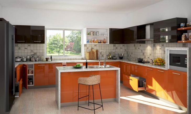 оранжевые кухни дизайн фото