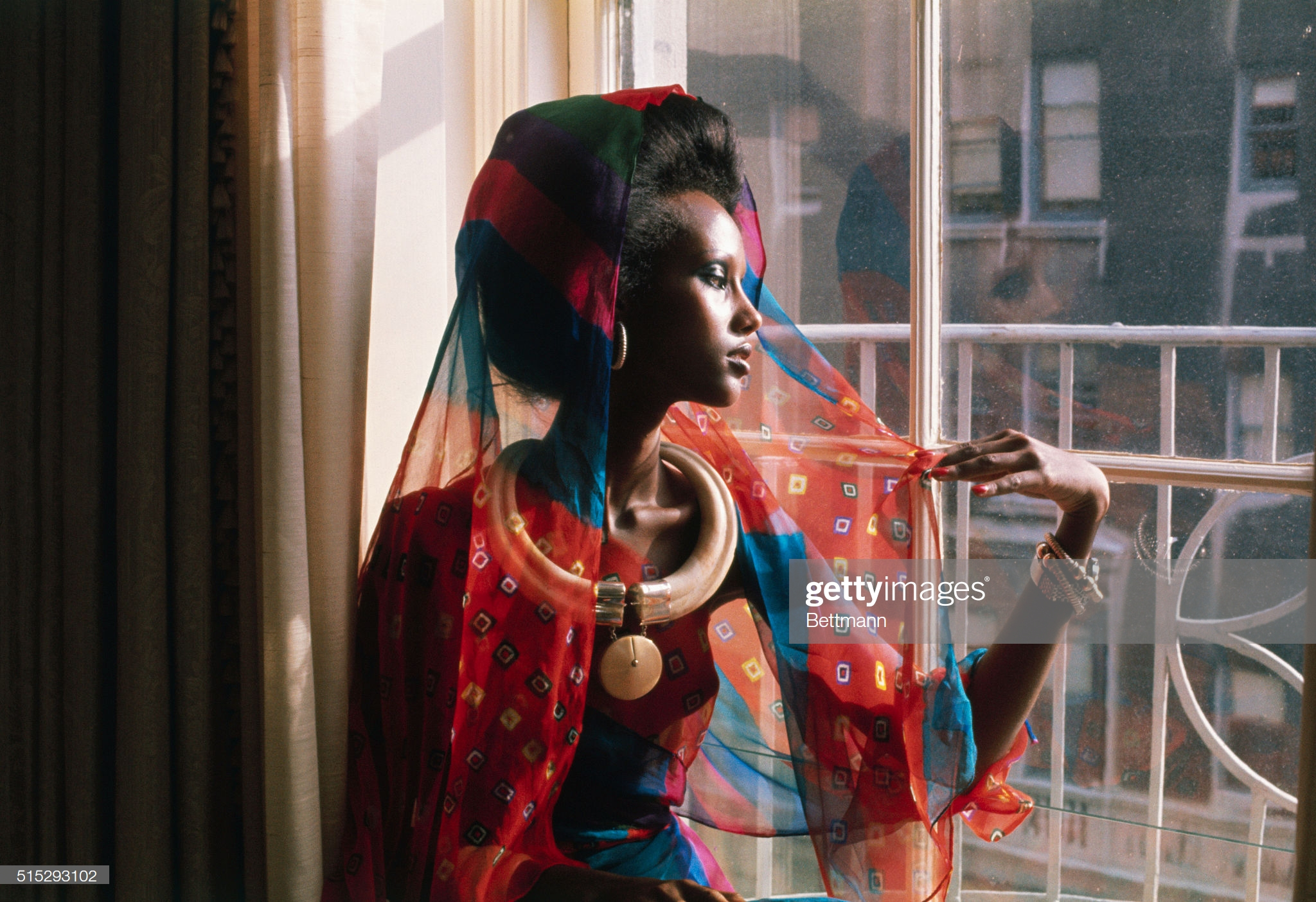 Fashion Model Iman by Window : News Photo