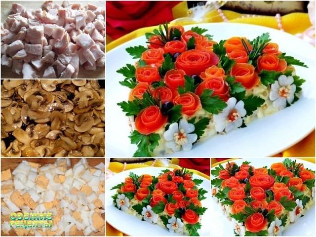 Красивейший салат «Розовый Букет»