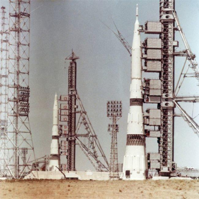 Две ракеты Н–1 на стартовом комплексе, июнь 1969 года, СССР было, история, фото