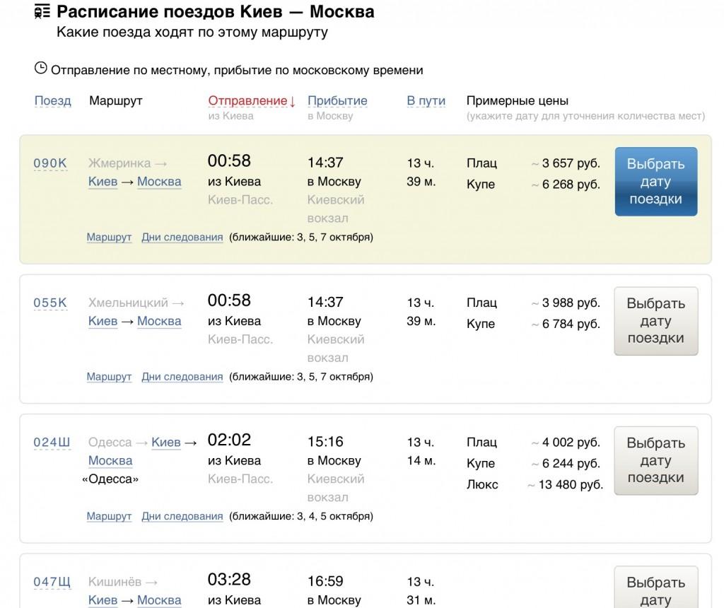 Табло вокзала Киевский вокзал Отправление