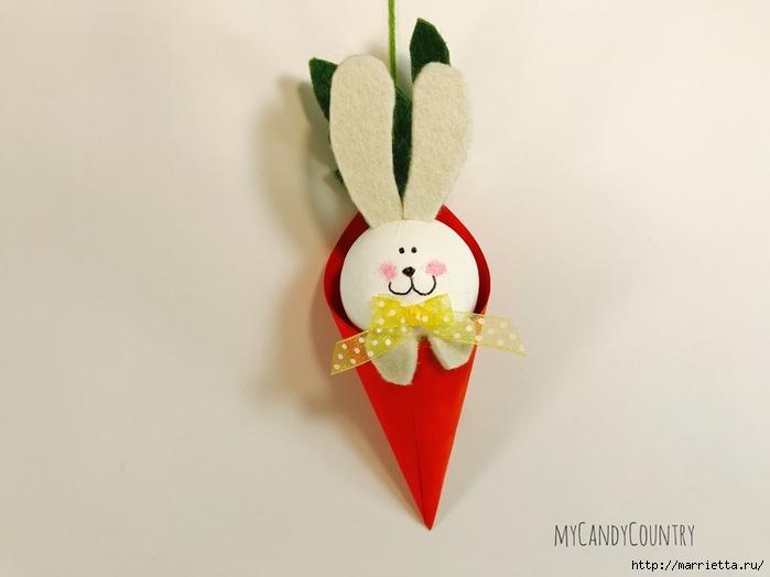 """Подвеска """"Пасхальный кролик"""" из простых материалов"""