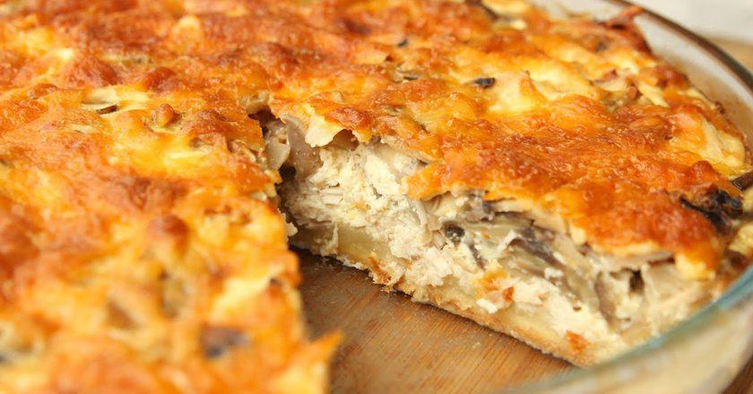 Песочный пирог с курицей и грибами: просто и достаточно быстро