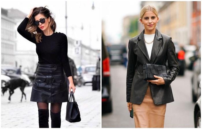 Кожаная юбка и деловая рубашка составляют идеальный офисный лук