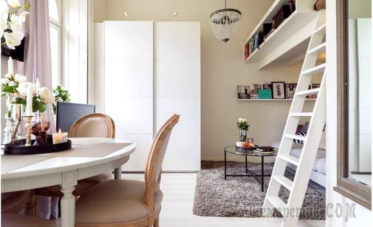 Скандинавская студия с нотками классики, 22 м²