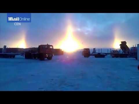 Three suns appear in the sky in a rare natural phenomenon