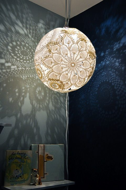 DIY doily lamp!