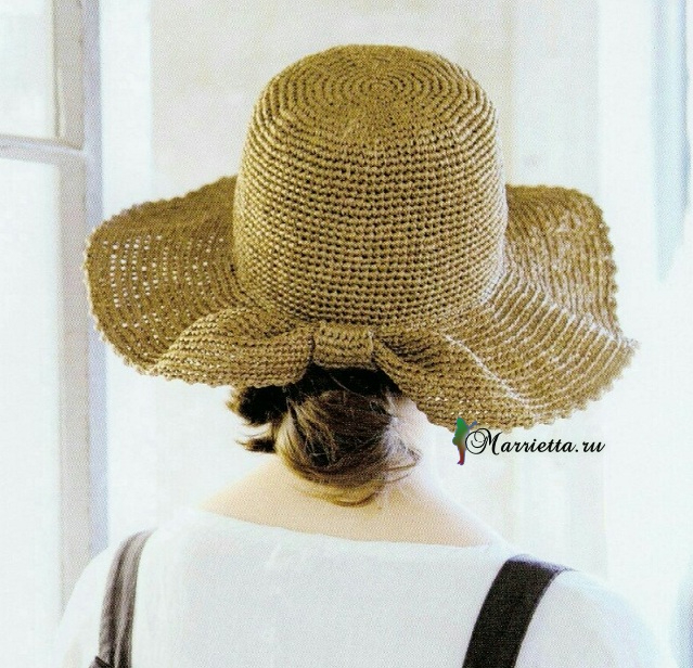 Летняя соломенная шляпка крючком