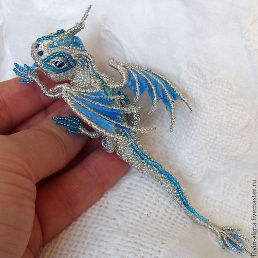 "Brooches handmade. Order Dragon brooch ""Snow"". Brooch beads. Embroidered dragon. master Alena Litvin. Livemaster. Brooches, buy"