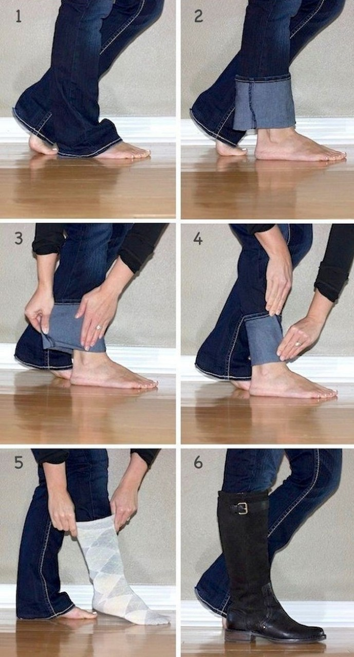 как закатывать джинсы