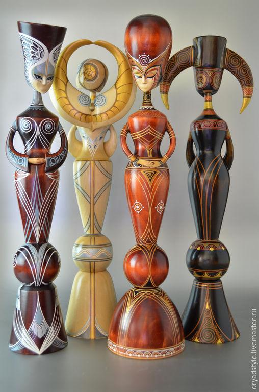 Скульптура из дерева.Оберег.Тотем.Стихии-Воздух,Огонь.Вода,Земля, Куклы, Сумы, Фото №1