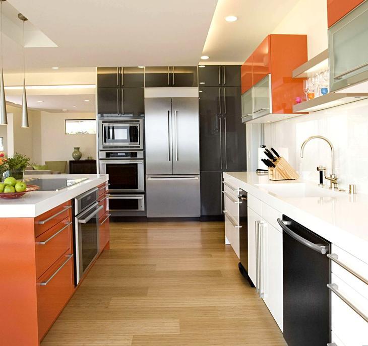 дизайн кухни оранжевой