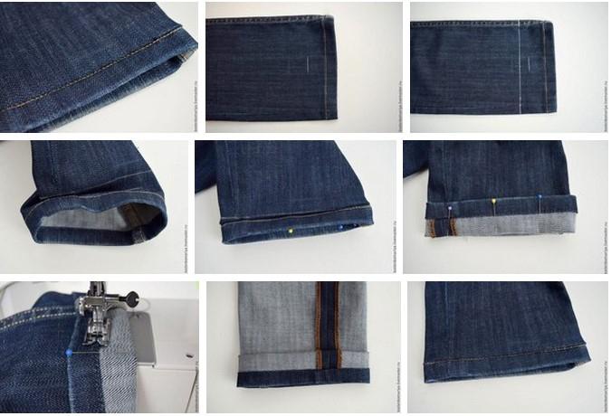 Подшиваем джинсы с сохранением фабричного шва 8