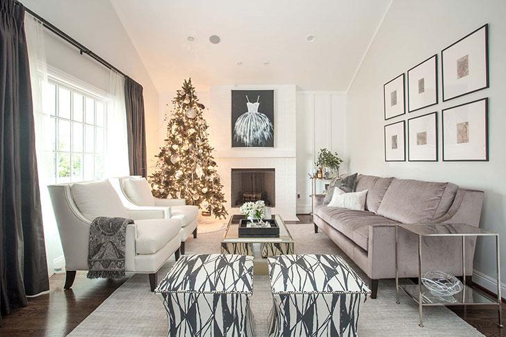 Элегантный рождественский интерьер в спокойных тонах