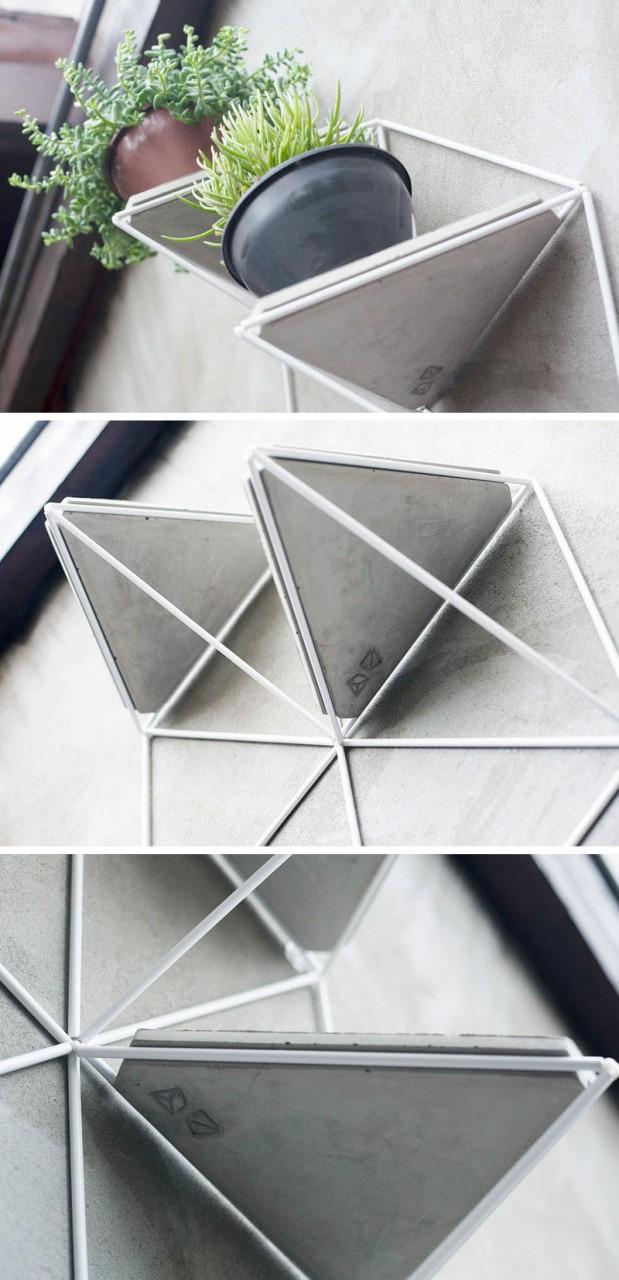 Геометрические полки с бетонными подставками