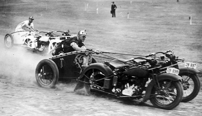 Гонки на колесницах, запряженных мотоциклами, 1930–е годы, США было, история, фото