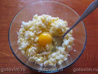 Фаршированные рисом и яйцом кальмары в духовке, Шаг 03