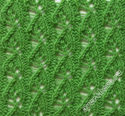 Красивые узоры с листочками спицами 3. Схемы