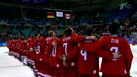 Российские хоккеисты спели гимн РФ под музыку олимпийского гимна после победы на ОИ