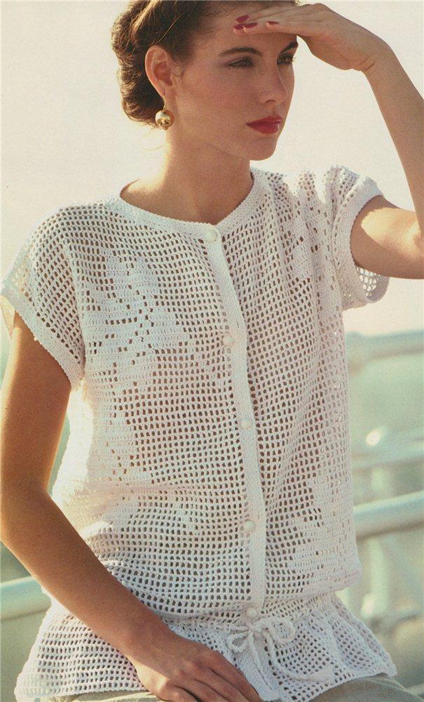 Филейное вязанье блузок