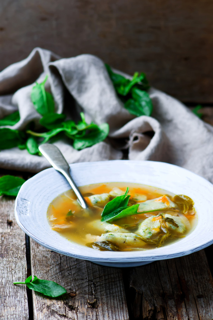 Soup with a sorrel. Selective focus. Style rustic