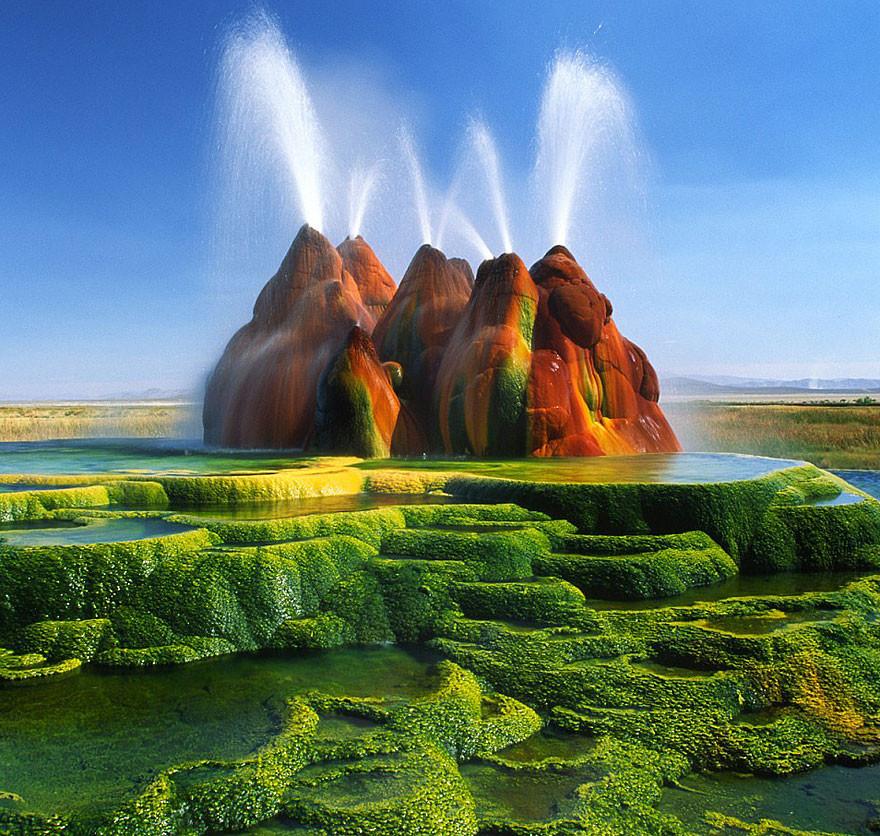 2. Гейзер Флай, Невада, США земля, красота, планета, природа