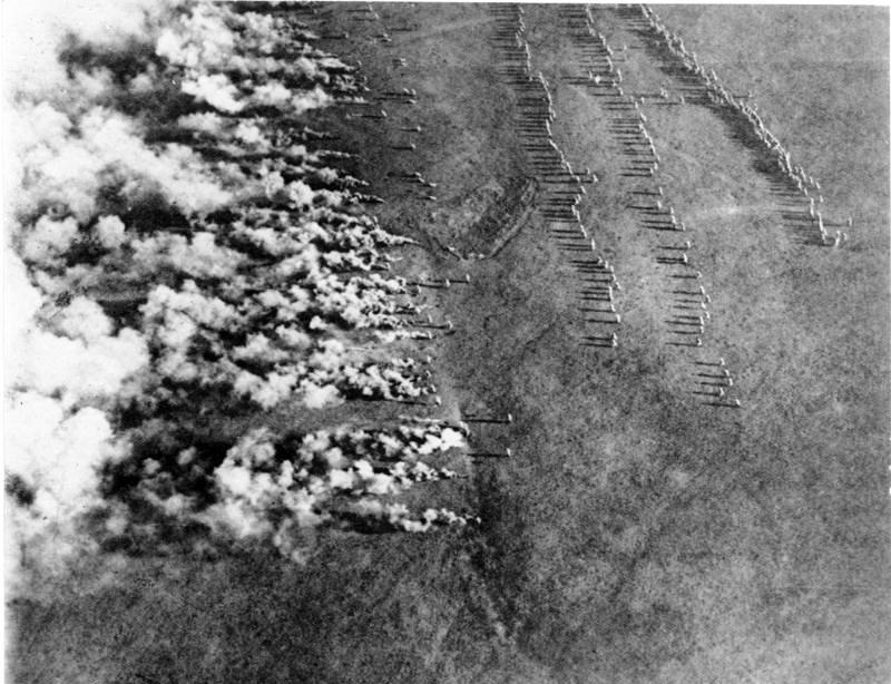 Германская газовая атака, снятая с воздуха русским пилотом, 1916 год Источник – armyman.info