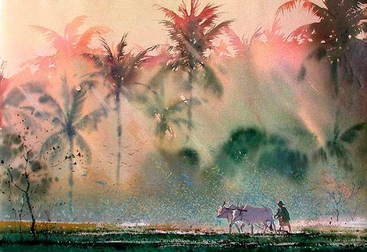 Акварельные картины художник Мьё Вин Онг 35