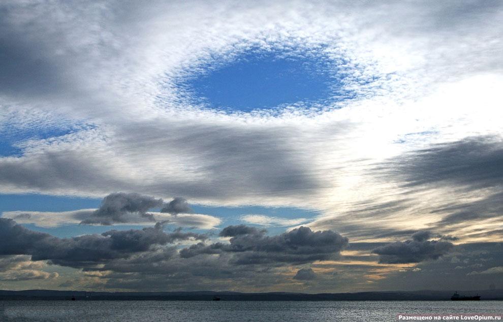 Эффект Fallstreak в перисто-кучевых облаках