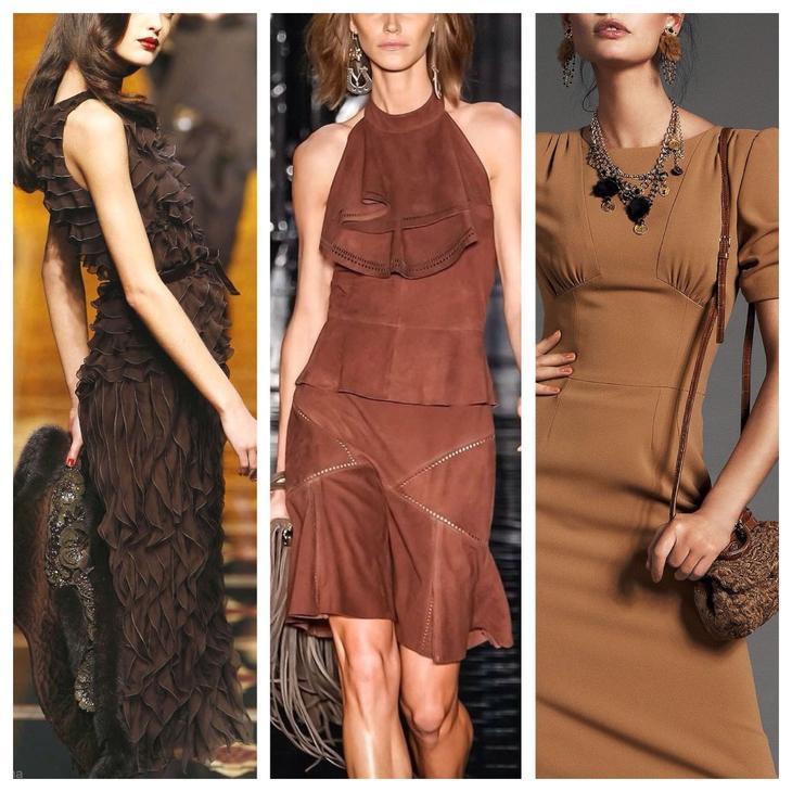 подиумные решения платьев коричневого цвета