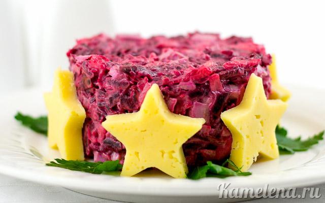 рецепт салата со свеклой и плавленным сыром и