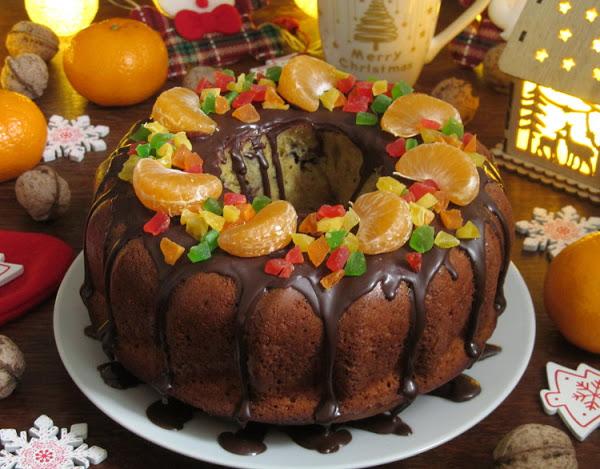Мандариновый кекс с шоколадно-ореховой начинкой