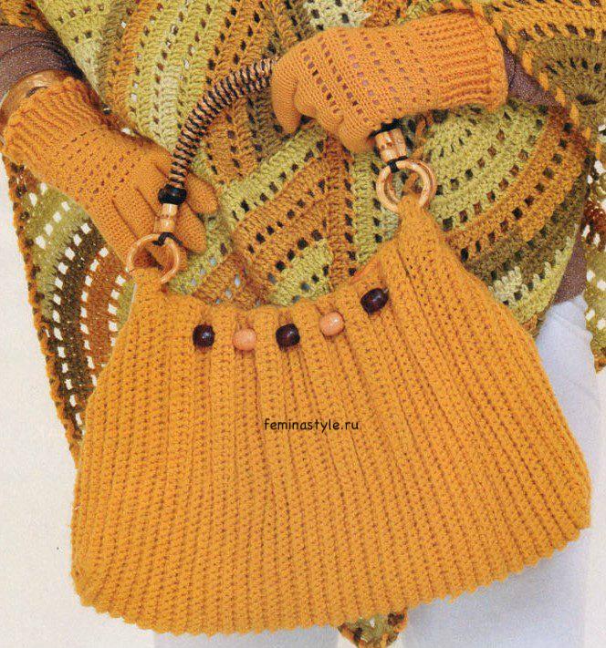 Берет, перчатки и сумка