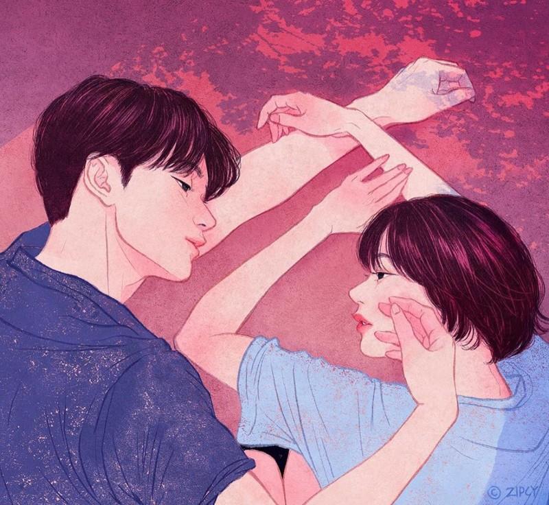 """""""Если бы я только мог перенести эту мягкость…"""" Любовь, в мире, влюбленность, искусство, романтика, художник, южная корея"""