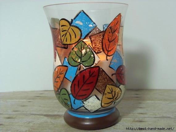 Необычная роспись вазы - губками!