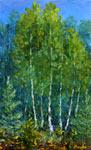 Живопись мастихином: Поляна красивых деревьев в лесу. Лесной летний пейзаж маслом на холсте. Картина написана мастихином на пленэре в лесу летом. Художник Валерий Рыбаков. Продажа картины.