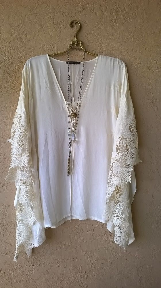 Image of Free People Gypsy Kaftan with corset lace up and crochet butterfly sleeves: