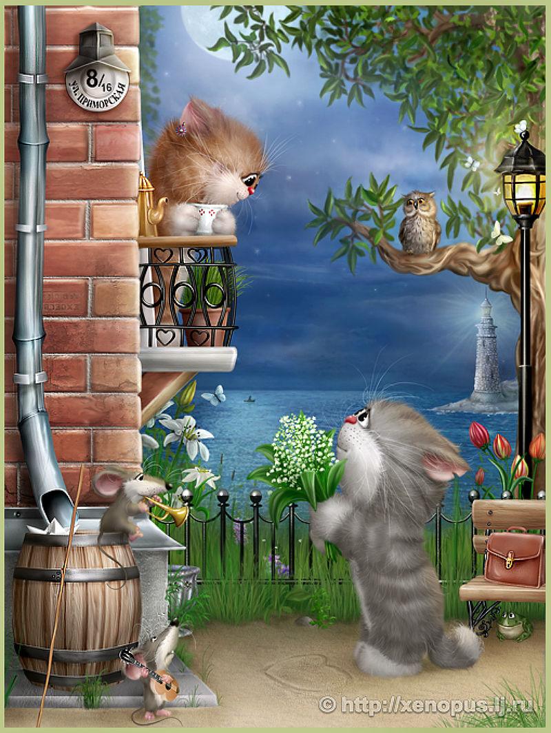 Кошаки рисованные, просто потрясающие от Алексея Долотова