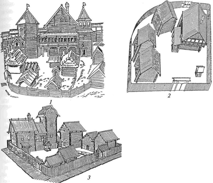 Городская застройка: 1 — усадьба феодала (Рязань); 2 — двор посадского жителя (Киев); 3 — усадьба священника и художника (Новгород)