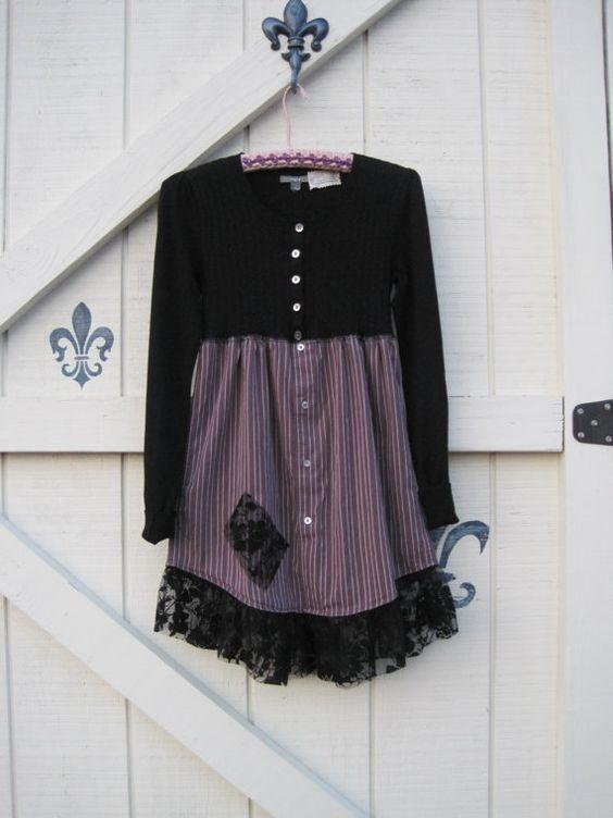 Boho dress mini black tunic Black babydoll dress by ShabyVintage, $48.90: