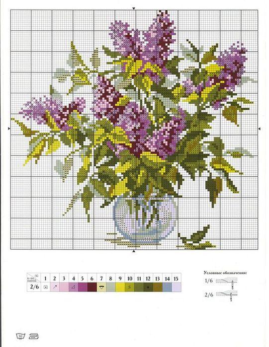 Вышивка крестом схемы цветы в вазе 66