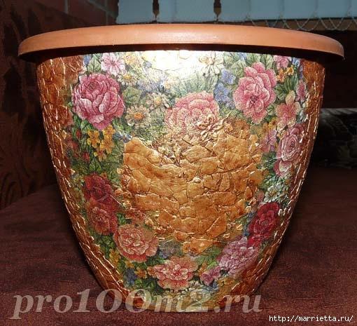 Мозаика из яичной скорлупы. Цветочный горшок