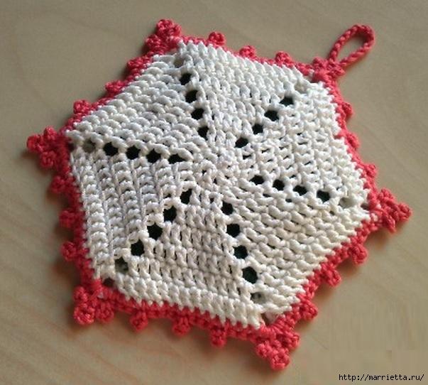 Вязание крючком. Прихватка с объемной розой (8) (603x542, 200Kb)